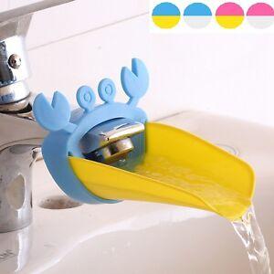 Suess-Wasserhahn-Extender-fuer-Kinder-Bequemlichkeit-Haendewaschen-Krabbe-Form-W1W3