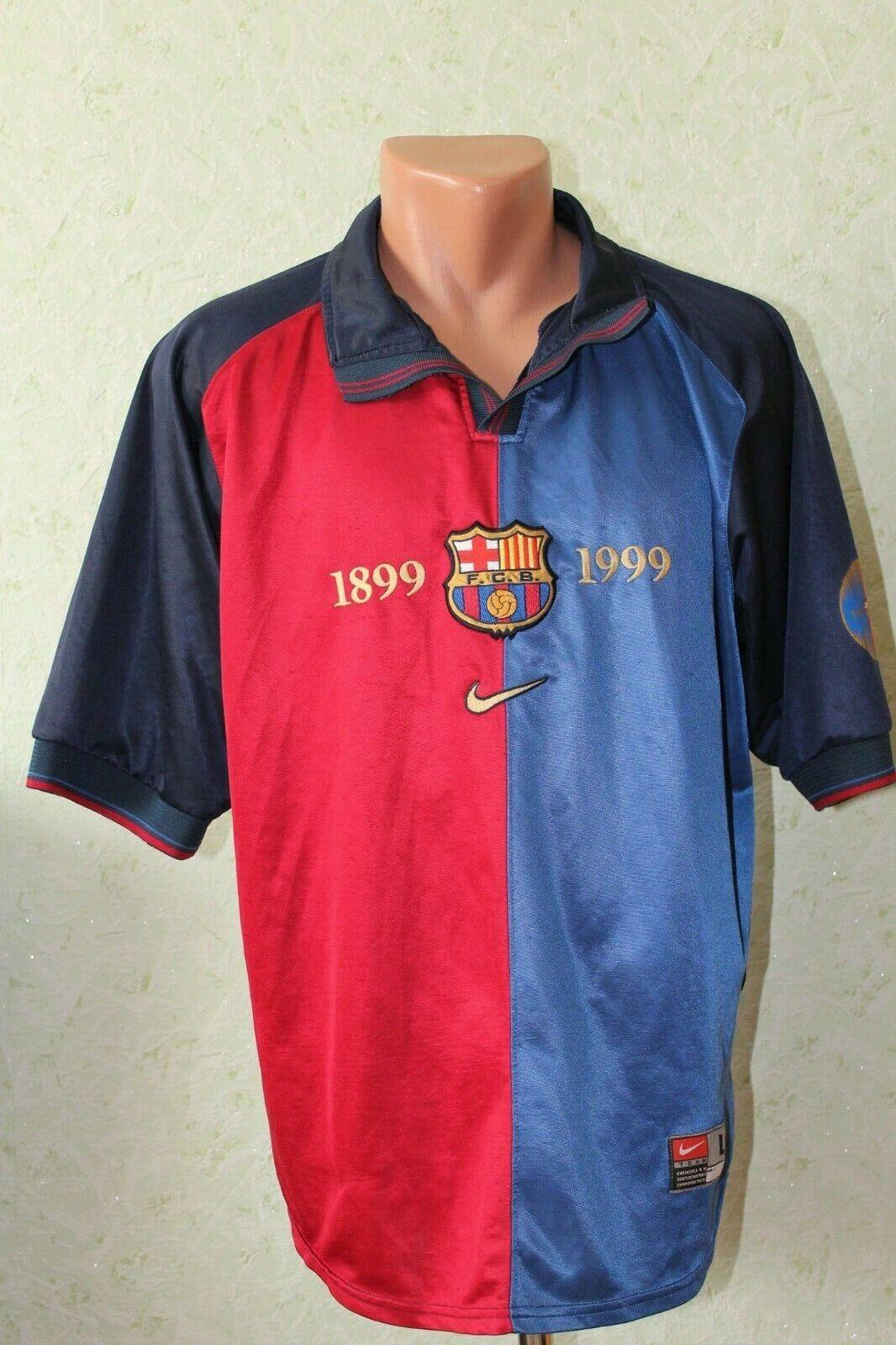 Barcelona Barsa Football Shirt Jersey Camiseta Soccer 1999 2000 Home Size L Rare