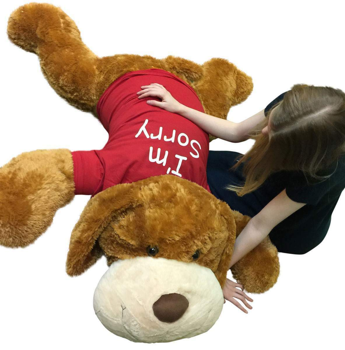 I'm SORRY Giant Stuffed Puppy Dog 5 Feet Long Brown Soft Wears i'm SORRY T-shirt