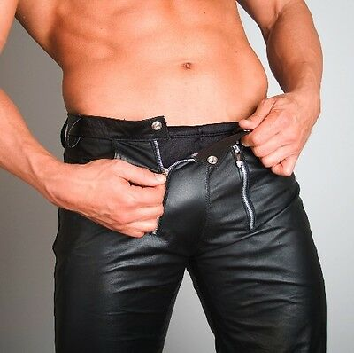 NEW 100% REAL LEATHER PANTS leder hosen pantalon fetish gay jock jeans bondage