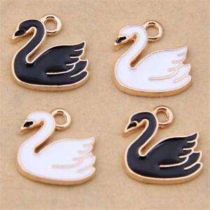 10pc-Enamel-Swan-Pendant-Charm-DIY-Earring-Bracelet-Jewellery-Making-1098