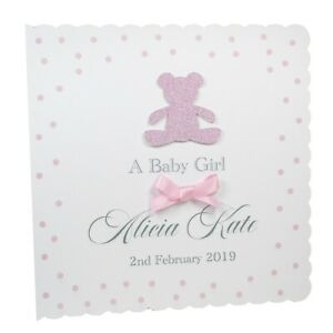 Personalised-New-Baby-Girl-Card-Name-amp-Date-Choice-of-Envelope-Handmade