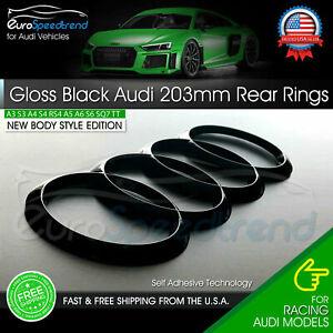 AUDI Rear Rings Gloss Black 203mm Trunk Lid Emblem Badge Logo A4 S4 S6 A6 Q3 Q5