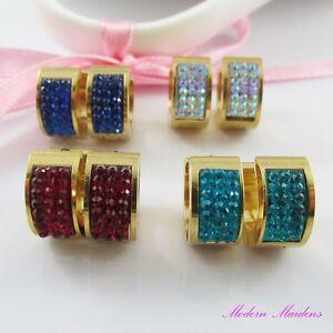 GP-Stainless-Steel-Rhinestone-Huggie-Hoop-Earrings-Select-Colour