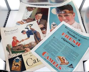 4-x-1930-s-CAMEL-CIGARETTES-LARGE-USA-MAGAZINE-ADVERTS