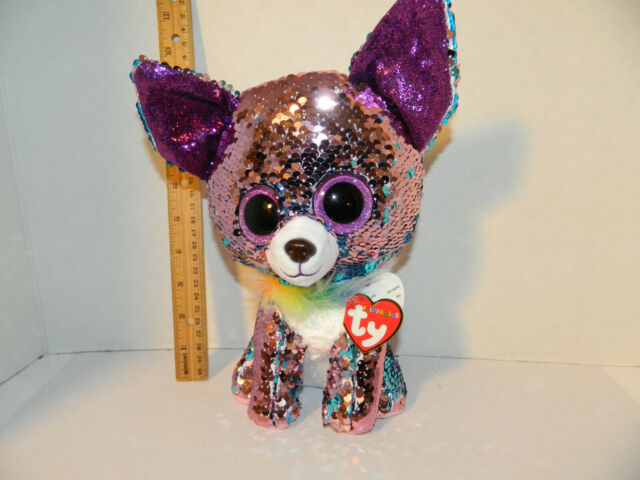 Ty Beanie Babies 36438 Flippables Medium Yappy The Blue Chihuahua Dog Sequin 845a933cacec