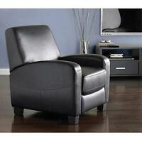 Home Theater Recliner Lounger Living Room Furniture Black Faux Leather Chair