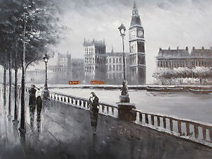 Image Is Loading London Black White Red Large Oil Painting Canvas