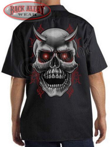 Horned Tribal Devil Skull Mechanics Work Shirt Biker M-3XL Red Eyes MMA Gothic