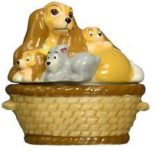 Disney Lady & Puppies in a Basket Ceramic Magnetic Salt & Pepper Shakers - Tramp