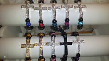 Joblot 30pcs Shamballa Diamante Crucifix cross Bracelets - NEW Wholesale lot C