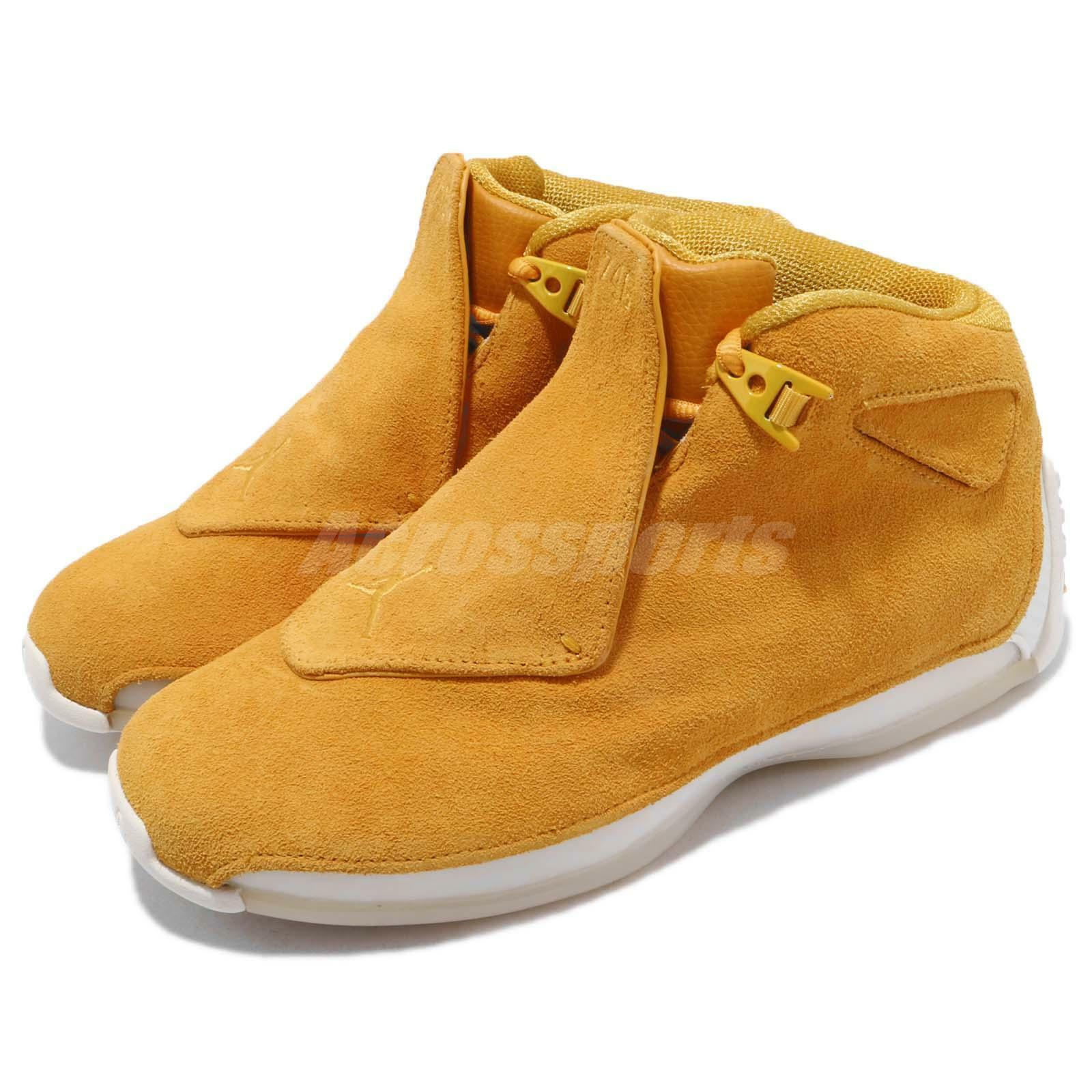 Nike Yelfaible Air Jordan 18 Retro Yelfaible Nike Ochre Suede homme Basketball chaussures AA2494-701 a30d19