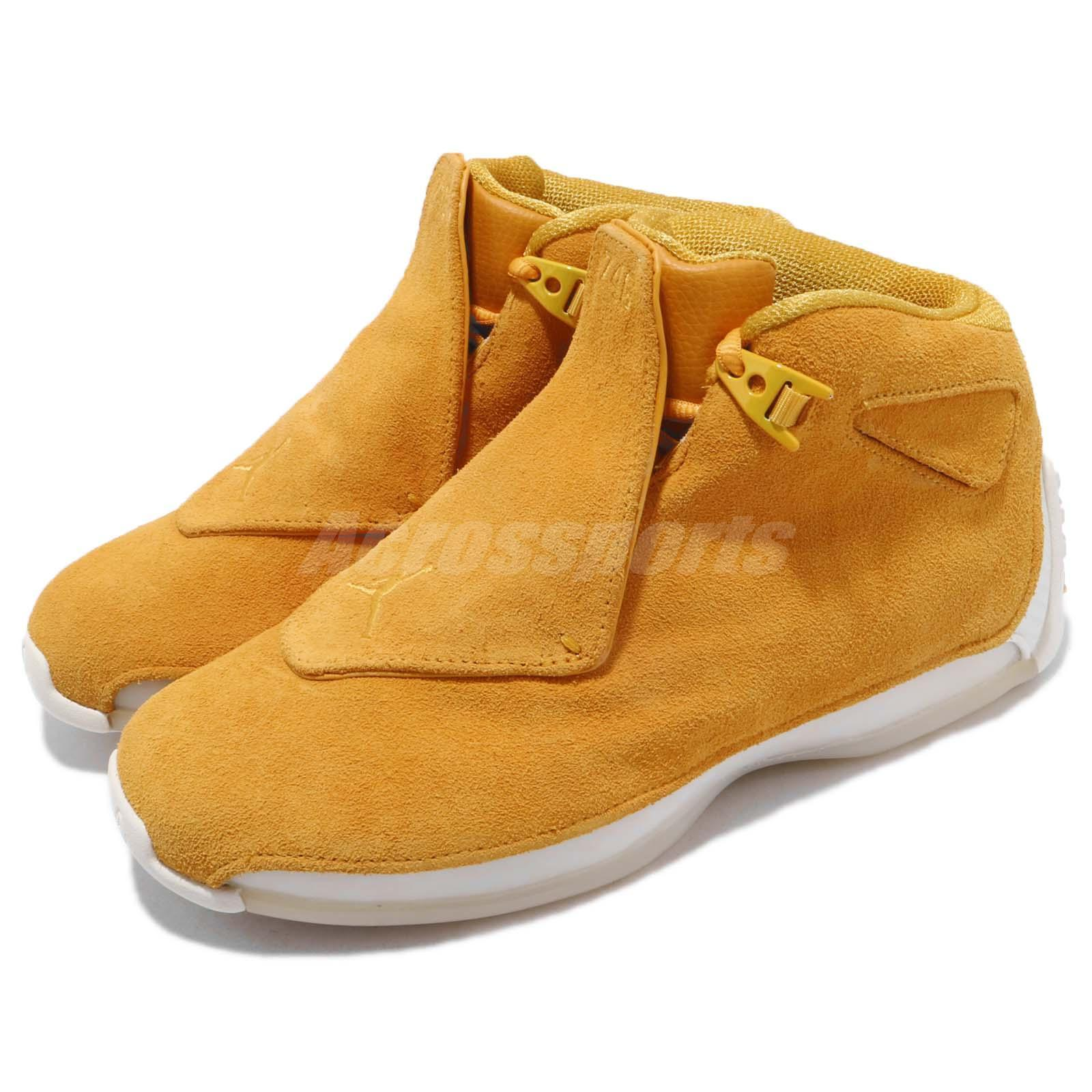 55d6231ad16 ... sweden nike air jordan suede 18 retro yellow ochre suede jordan mens  basketball shoes aa2494 701