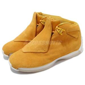 3668a6532ea4ec Nike Air Jordan 18 Retro Yellow Ochre Suede Mens Basketball Shoes ...