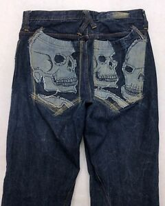 J66-Artful-Dodger-Embroidered-SKULL-POCKET-Baggy-Straight-Jeans-sz-34-32x34