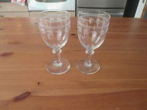 2 très beaux verres à eau en cristal gravé frise & feuilles de vignes circa 1900 nlIqYUvC-09092217-630479887