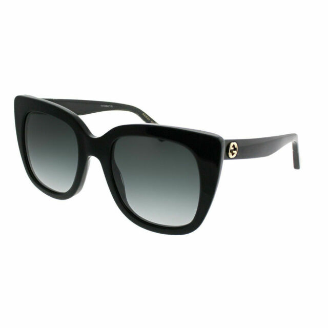 124eab559c2 Gucci GG0163S 001 Black Plastic Cat-Eye Sunglasses Grey Gradient Lens
