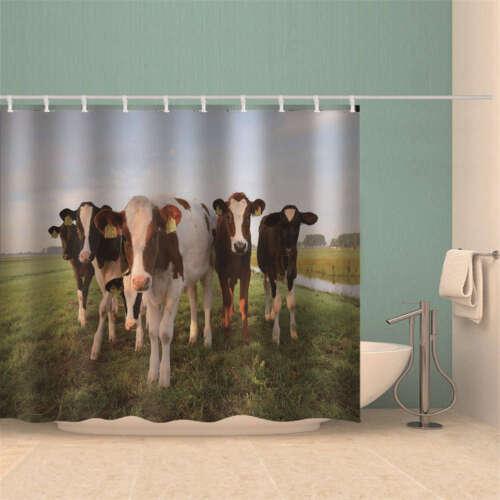 Dairy Cows Easy Moisten 3D Shower Curtain Waterproof Fabric Bathroom Decoration