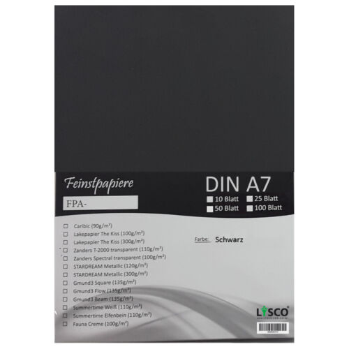 50 Blatt DIN A7 Gmund Transparentpapier 100g Farbe schwarz transparent FPA-125