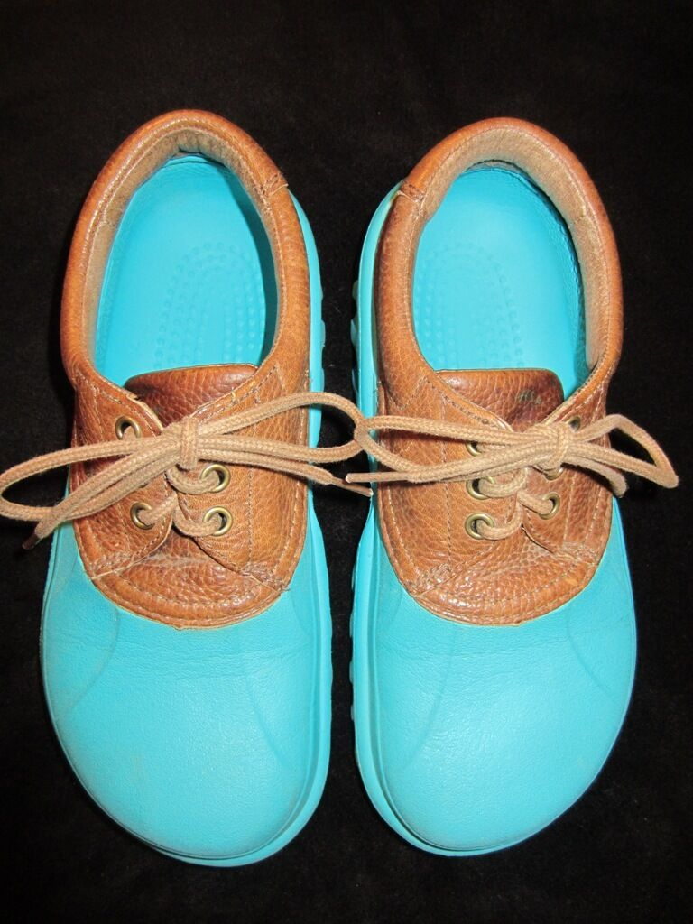 Crocs Tie-on Leather Uppers- Cool color - Gently Used Condition- Discontinued