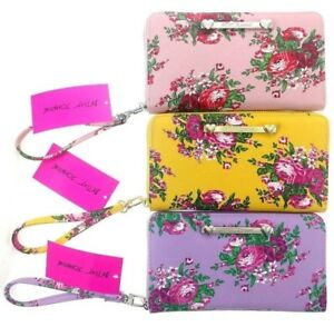 Betsey-Johnson-Floral-Oversized-Wallet-Large-8x5-034-Wristlet-Clutch-Purple-Yellow
