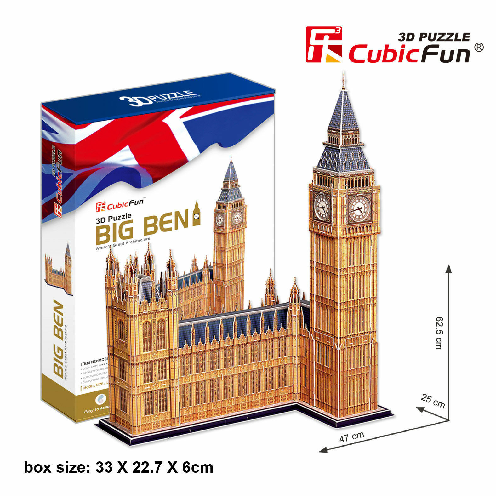 CubicFun Big Ben D Puzzle Jigsaw Model 116 Pieces 62.5x25x47cm MC087h