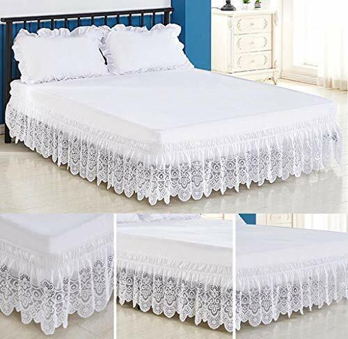 White Bed Skirt Queen King Ruffled, Queen White Bed Skirt 16 Drop