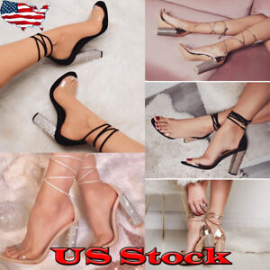 Womens-Gladiator-High-Heel-Strappy-Transparent-Sandals-Party-Peep-Toe-Shoes-Size
