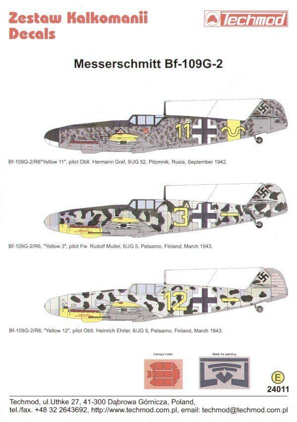 Techmod decalcomanie 1 24011   24 messerschmitt bf 109g-2   24011 1 524089