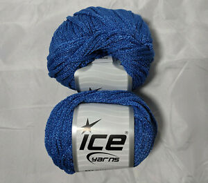 Air-Shine-Blue-51388-Ice-Yarn-Lot-of-2-Skeins-Acrylic-Polyamide-50g-76y