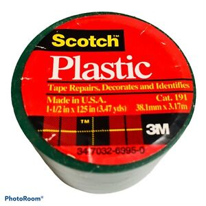 """3M SCOTCH Green Colored Plastic Tape for Repair and ID, 1.5"""" x 125"""" 3.47 yds NEW"""