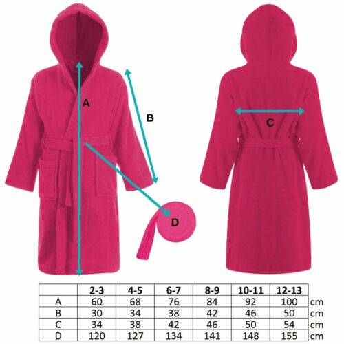 Kids 100/% Cotton Pink Terry Towelling Hooded Bathrobe Bath Robe Gown Ages 2-13