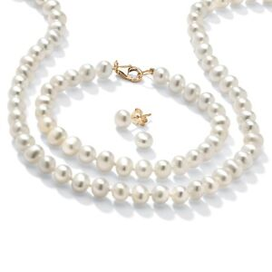 Genuine-Cultured-Pearl-14k-Gold-over-925-Silver-3-Pc-Set