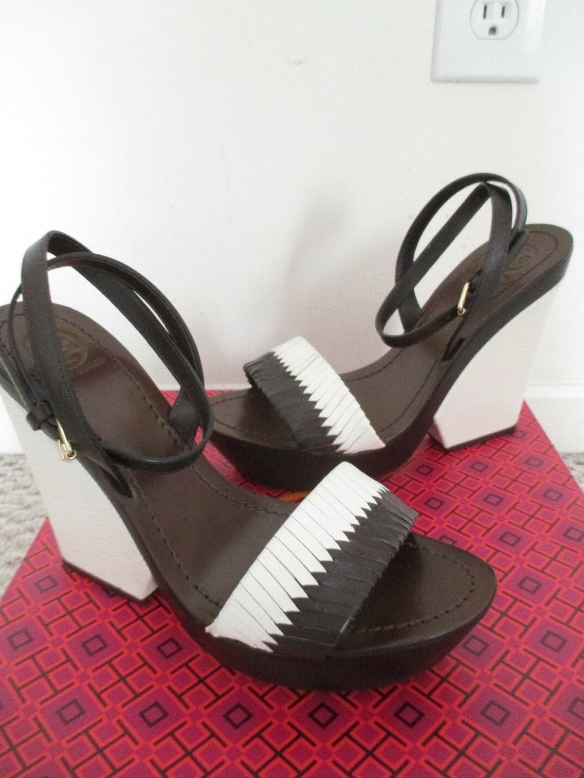 Tory Burch Bi-color Woven Wedge Ivory Coconut Size 9  Platform Sandals   395.00