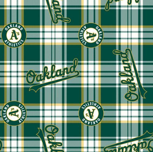 Oakland Athletics A/'s Plaid MLB Baseball Print Fleece Fabric by the Yard s6625bf