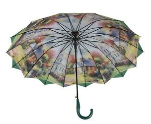 Austin-House-Stick-Umbrella-Double-Canopy-Green