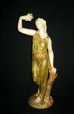 """Royal Worcester """"LIBERTY"""" Maiden Holding a Dove Porcelain Figurine 14.25"""" C1911"""