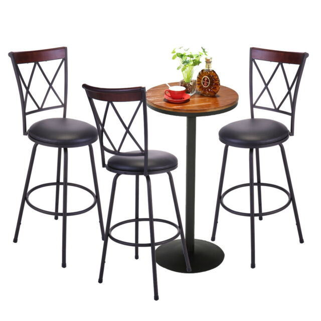 Terrific Set Of 3 Adjustable Swivel High Back Bar Stools Steel Frame Counter Height Chair Unemploymentrelief Wooden Chair Designs For Living Room Unemploymentrelieforg