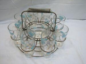 Mid century modern MCM SUgar and creamer set in wire rack