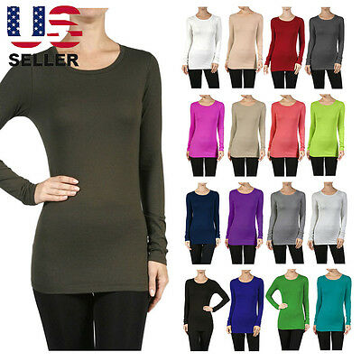 Women LONG SLEEVE ROUND CREW NECK SHIRT Top SLIM FIT Basic Plain COTTON