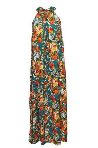 Womens Summer Boho Beach Party Green Orange Floral Paisley Print Maxi Dress