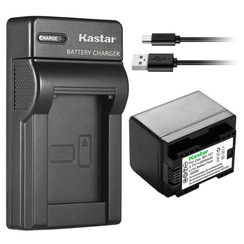 Kastar Batería Cargador delgado para Canon BP-727 CG-700 Canon VIXIA HF R70 Cámara