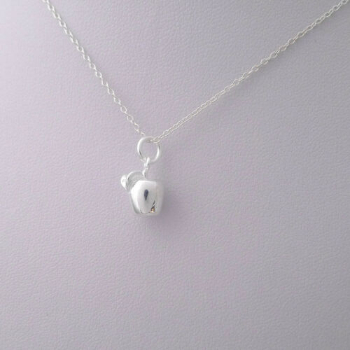 Shiny Solid 925 Sterling Silver 3D Plain Simple Apple Leaf Pendant Charm Gift