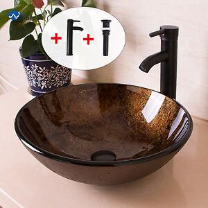 Round Bathroom Glass Vessel Sink Bowl Oil Rubbed Bronze Faucet Drain