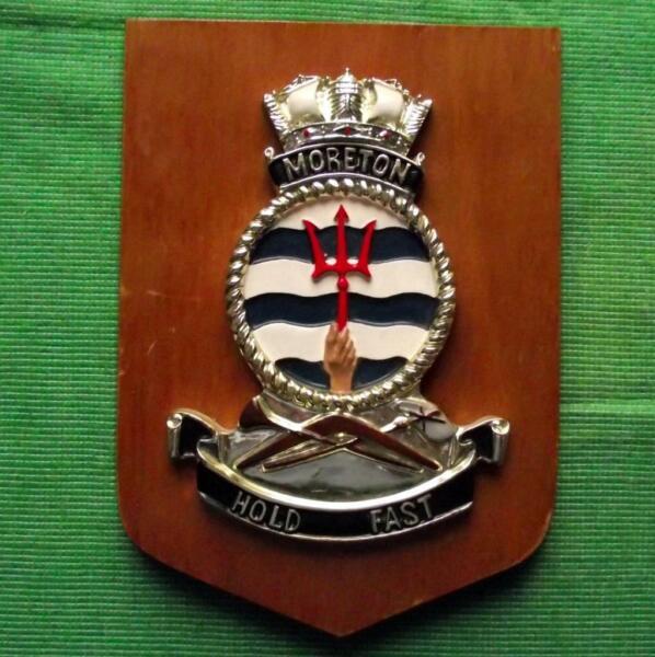 Inventivo Old Hmas Moreton Royal Australian Navy Ship Crest Escudo Placa-ver