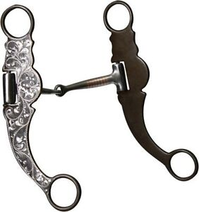 SHOWMAN-WESTERN-HORSE-BROWN-SILVER-SHOW-BIT-5-25-034-MOUTH-ATTACHES-TO-THE-BRIDLE