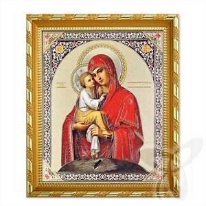 Ikony Ikone GM Würdig ist Holz 21x18 Достойно Есть Богородица ikona икона Antyki i Sztuka