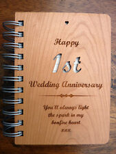 First 1st Paper Wedding Anniversary Gift: Personalised Message Wooden Notebook