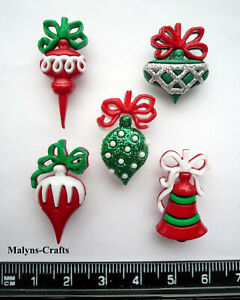 Details About Christmas Ornaments Craft Buttons 1st Class Post Decoration Tree Santa Claus