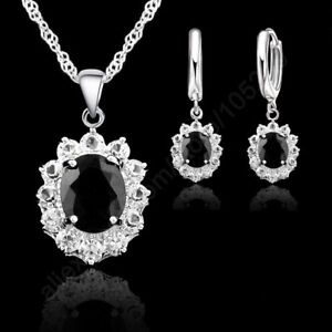 925-Sterling-Silver-Black-Cubic-Zirconia-Crystal-Pendant-Necklace-amp-Earring-Set